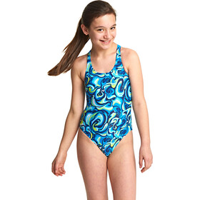 Zoggs Tie Marbling Rowleeback Swimsuit Girls Blue/Multi